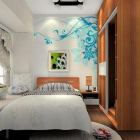 墙体彩绘卧室柜子卧室灯具小卧室床头灯简约风格12平方卧室背景墙装修效果图简约风格单人床图片