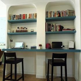地中海風格公寓經濟型90平米工作區書架效果圖