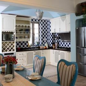 櫥柜紅酒柜地中海風格開放式廚房馬賽克瓷磚圖片裝修效果圖