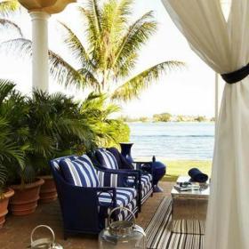 入戶花園大戶型沙發120㎡海風拂面的地中海花園設計裝修效果圖