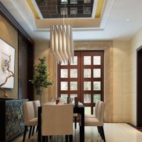 中式风格三居室餐厅壁纸装修效果图