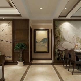 中式古典三居室玄關走廊裝修效果圖