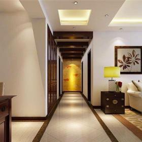 中式風格三居室玄關走廊裝修圖片效果圖欣賞
