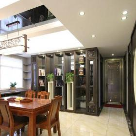 中式古典三居室餐厅酒柜装修效果图