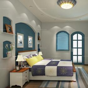 臥室背景墻寬敞舒適的地中海風格臥室效果圖大全