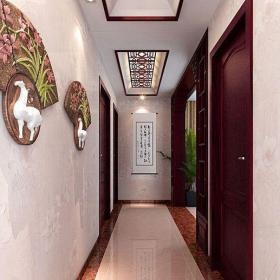 中式風格別墅走廊過道裝飾設計圖效果圖