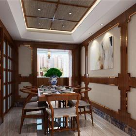中式风格三居室餐厅酒柜装修效果图大全