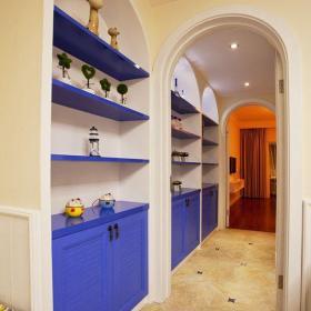 地中海風格三居室玄關走廊裝修效果圖