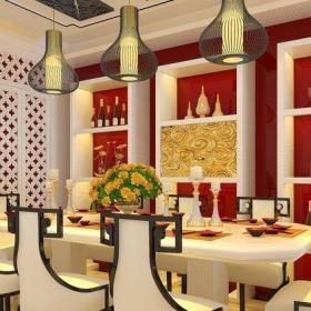 新中式现代风格98平二居室餐厅白色酒柜效果图