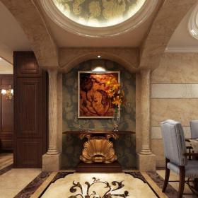 中式風格三居室玄關走廊裝修效果圖