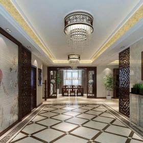 中式風格五居室玄關走廊裝修效果圖