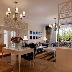 地中海風格二居室餐廳吊頂裝修圖片裝修效果圖