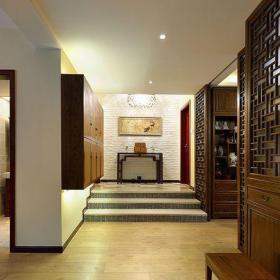 中式古典三居室玄關走廊裝修效果圖欣賞