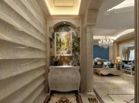 大理石拼花柜子地面拼花玄关玄关柜装饰画奢华时尚的室内欧式罗马柱设计效果图欣赏