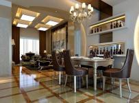 简欧风格餐厅地面拼花装修效果图简欧风格餐桌餐椅图片
