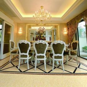歐式風格餐廳地面拼花裝修效果圖歐式風格餐桌餐椅圖片1