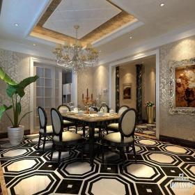 新古典风格餐厅地面拼花装修效果图新古典风格餐桌餐椅图片