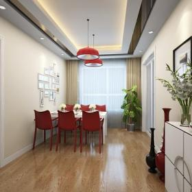 照片墻窗簾吊頂三居現代風餐廳照片背景墻裝修效果圖