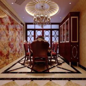 地面拼花壁紙吊燈餐桌餐椅背景墻餐桌餐椅餐廳背景墻歐式風格餐廳餐廳吊頂裝修效果圖歐式風格酒柜圖片