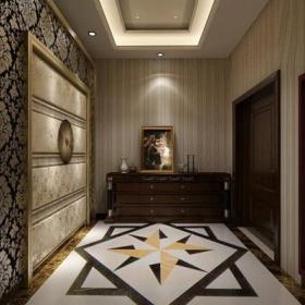 展示柜地面拼花簡約歐式風格玄關走廊墻面裝飾裝修效果圖