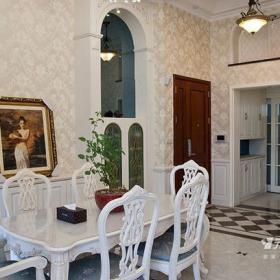 地面拼花裝飾畫壁紙餐桌餐椅260㎡簡約歐式風格餐廳背景墻裝修圖片簡約歐式風格餐椅圖片效果圖大全