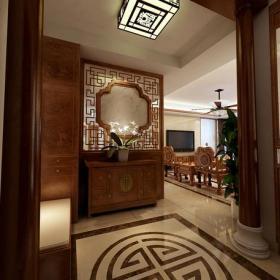 吸顶灯隔断地面拼花家居摆件柜新中式中式家具160㎡大户型中式风格玄关吊顶装修效果图中式风格玄关柜图片