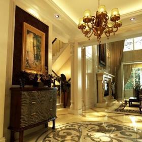 地面拼花子裝飾畫玄關簡歐玄關柜吊燈美觀時尚的大理石拼花設計裝修效果圖