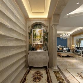 大理石拼花柜子地面拼花玄關玄關柜裝飾畫奢華時尚的室內歐式羅馬柱設計效果圖欣賞