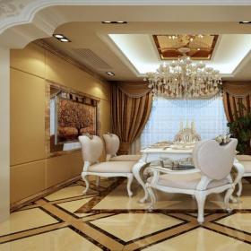 歐式風格餐廳地面拼花裝修效果圖歐式風格餐桌餐椅圖片