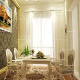 欧式利用精美花纹装饰餐厅墙壁与地面效果图