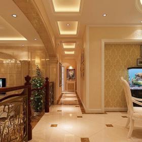 简欧错层石材罗马柱拱形门洞弧形吊顶地面斜拼客餐厅鱼缸设计装修效果图