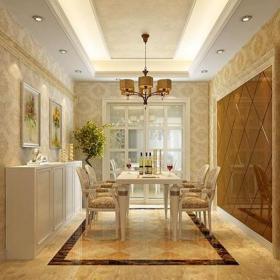 地面拼花餐邊柜吊頂家具實木家具背景墻實木家具140㎡歐式風格三居餐廳背景墻裝修效果圖歐式風格餐廳家具