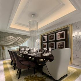 簡約歐式風格餐廳照片墻裝修效果圖簡約歐式風格餐桌餐椅圖片