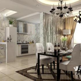 地面拼花簡歐隔斷餐廳隔斷開放式廚房簡歐風格餐廳吊頂裝修效果圖簡歐風格餐椅圖片