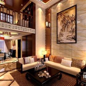 小夜灯地面拼花装饰画灯具小复式楼新中式风格别墅客厅沙发背景墙装修效果图新中式风格茶几图片