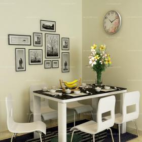 照片墙白色背景墙白色餐厅背景墙布局紧凑的现代时?#34892;?#39184;厅装修效果图