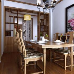 照片墙中式风格餐厅吊顶装修效果图中式餐桌椅图片