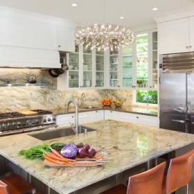 现代简约风格厨房单身公寓厨房唯美家庭餐桌效果图