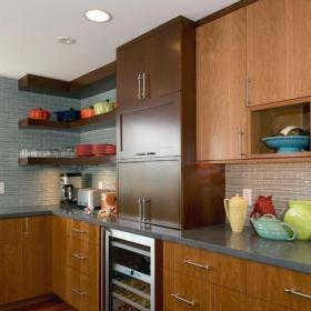 現代美式風格單身公寓廚房樂活2018整體廚房設計圖效果圖