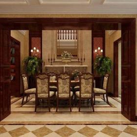 歐式風格別墅餐廳背景墻裝修效果圖歐式風格餐桌餐椅圖片