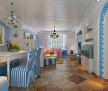 沙发背景墙照片墙电视背景墙电视柜80㎡二居80平米地中海风格客厅吊顶装修效果图二居80平米地中海风格