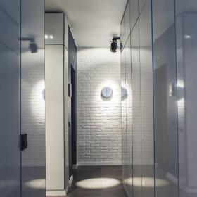 白色91-120平米公寓工業風格收納式走廊裝修效果圖