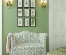 小清新绿色沙发背景墙设计图纸效果图