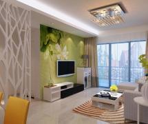 自然清新的绿色电视背景墙装修效果图