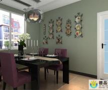 绿色背景墙绿色现代风格餐厅背景墙装修效果图