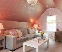 布艺粉色吊顶复式楼沙发茶几绝对抢眼的阁楼客厅设计装修效果图
