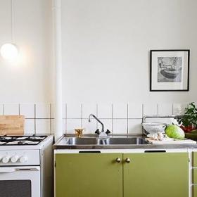 超小户型现代简约风格小户型小清新绿色厨房设计图纸效果图