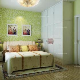 绿色壁纸碎花壁纸家饰80㎡卧室床田园亚丁小镇现代风格主卧效果图大全
