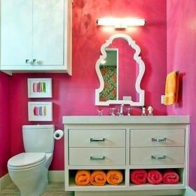 """粉色隔斷一居衛生間70㎡椅凳粉紅浴室,怎一個""""美字了得效果圖大全"""