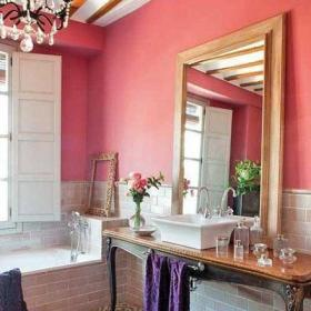 衛生間浪漫小資情調粉色衛浴間效果圖